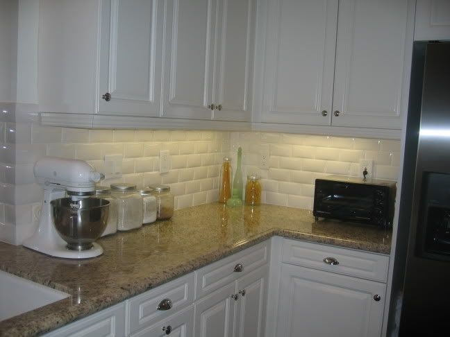 Subway Tile Creme Granite Counters White Cabinets