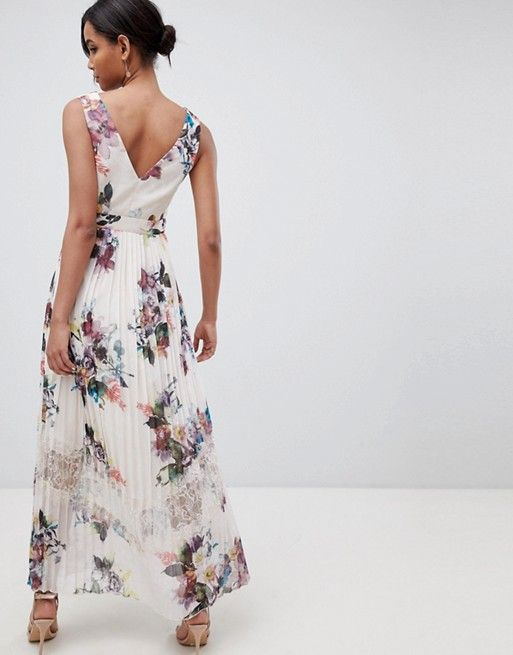 7dcafe48b32ec Little Mistress | Little Mistress pleated maxi dress in floral print in  cream multi