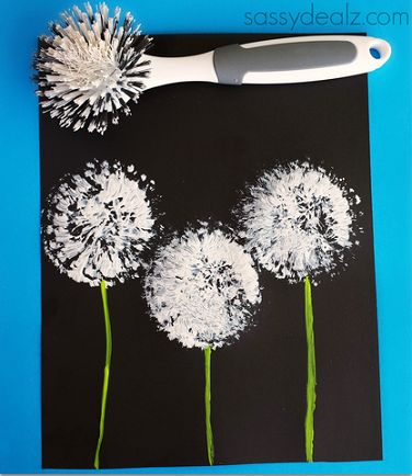 Dish Brush Dandelions - these have gone to seed - a fun project to go along with the blooming yellow fork-painted dandelions!