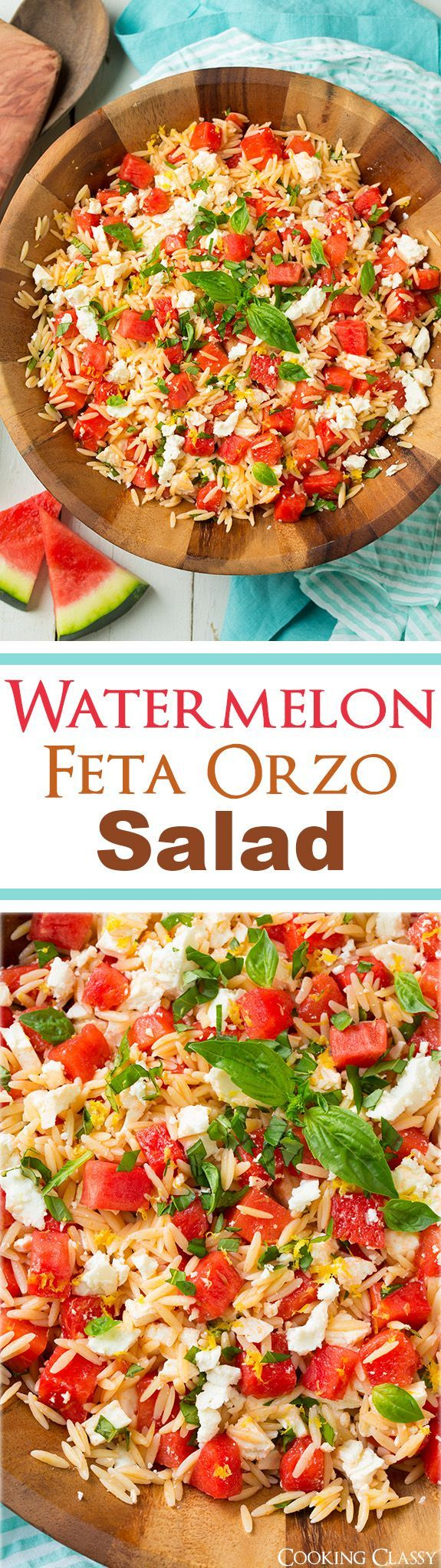 Watermelon Feta Orzo Salad with Lemon and Basil - This is one of my ...