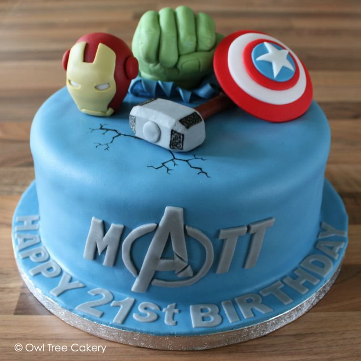 A super marvelous iconic Avengers cake is a smashing way to celebrate Matt's 21st birthday!