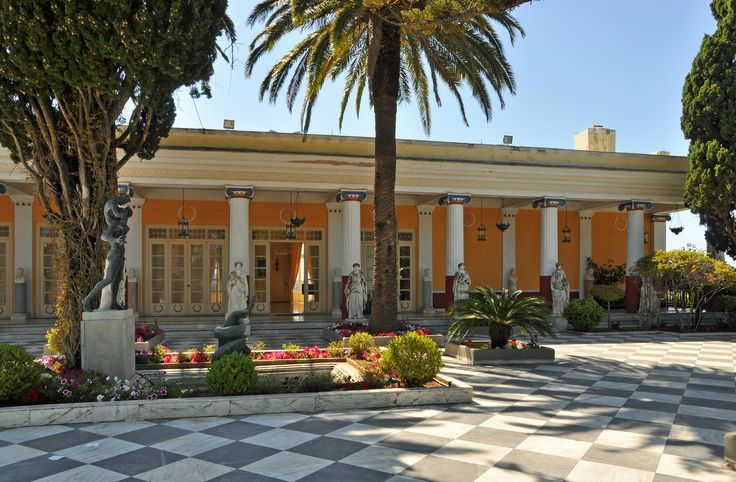 The Achilleion Palace, Corfu, Greece. The palace was built by Empress Elisabeth of Austria(Sisi), and later used by Kaiser Wilhelm II till 1914. After WWII its use ranged from hospitals and government offices to kindergartens. It is now a museum and tourist attraction.
