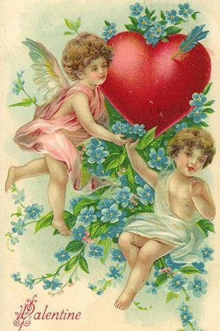 Cherubs with heart ~ Valentine ~ {free clip art}