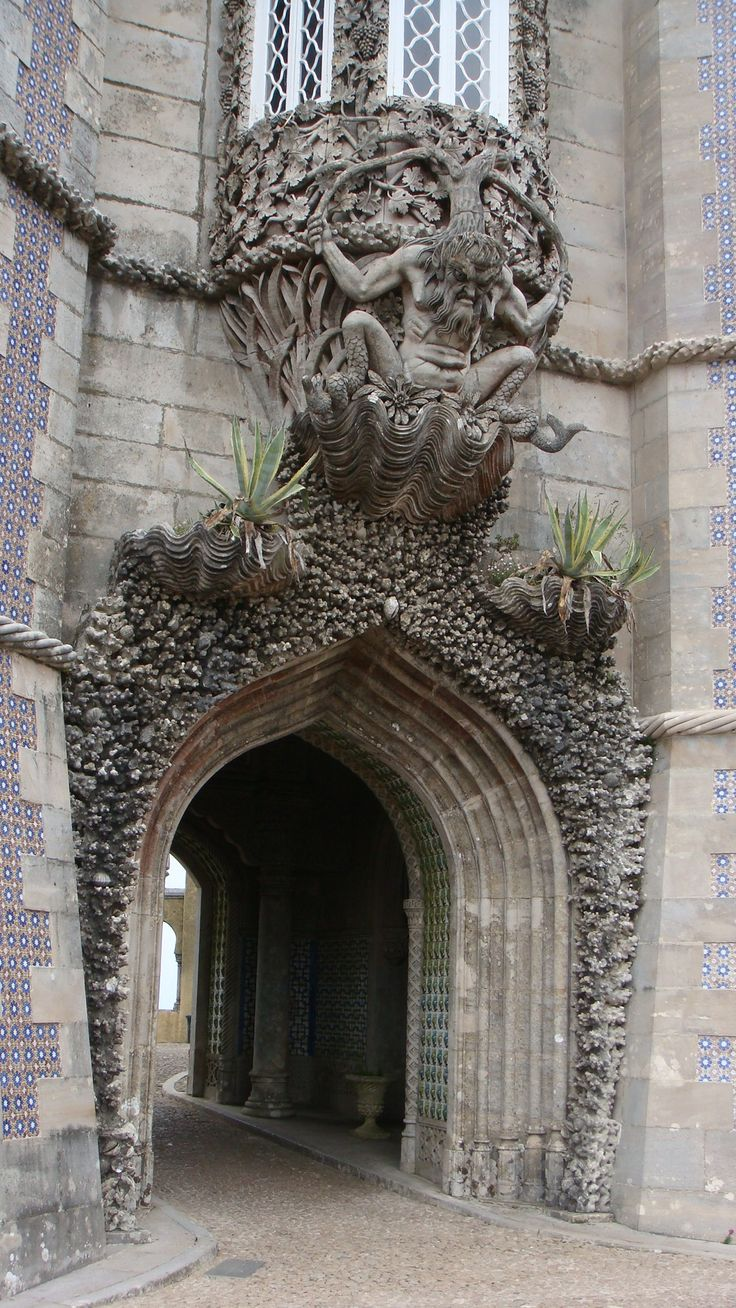 Pena Palace, Sintra, Portugal... Doesn't need an actual Door, this says it all, beautiful Window too.. Artful design!