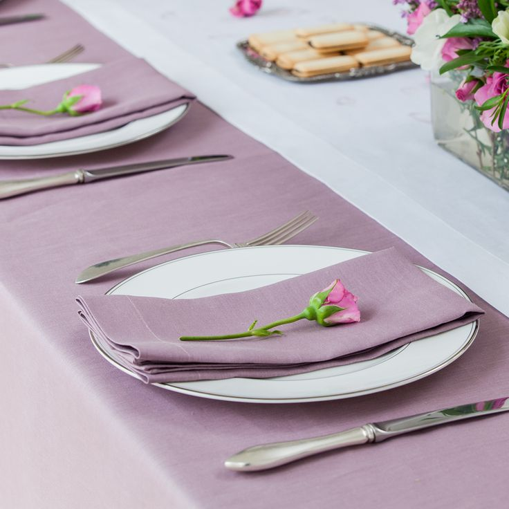 Awesome Huddleson Linens   Heather Lilac Lavender Rectangular Pure Linen Tablecloth    Solid Color   Custom Sizes