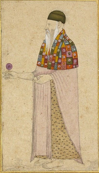 The Sufi mystic Shah Daula. Mughal, late 17th C. Brush drawing with washes and opaque pigments. Detail.