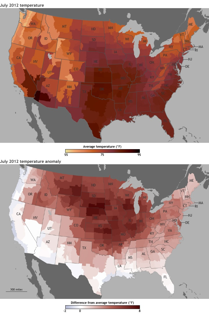 July 2012 Hottest month ever recorded for