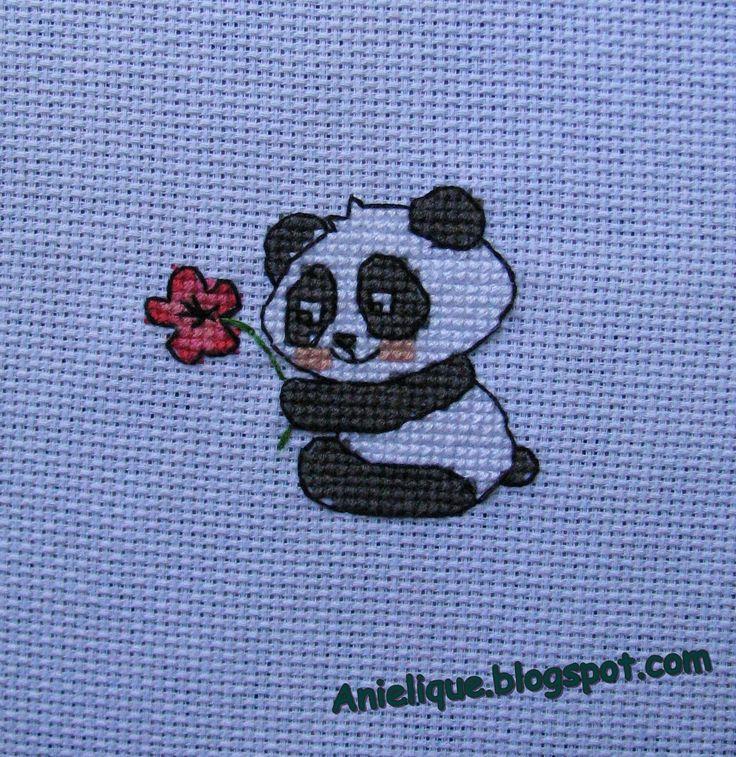 sweet panda, cute, cross stitch