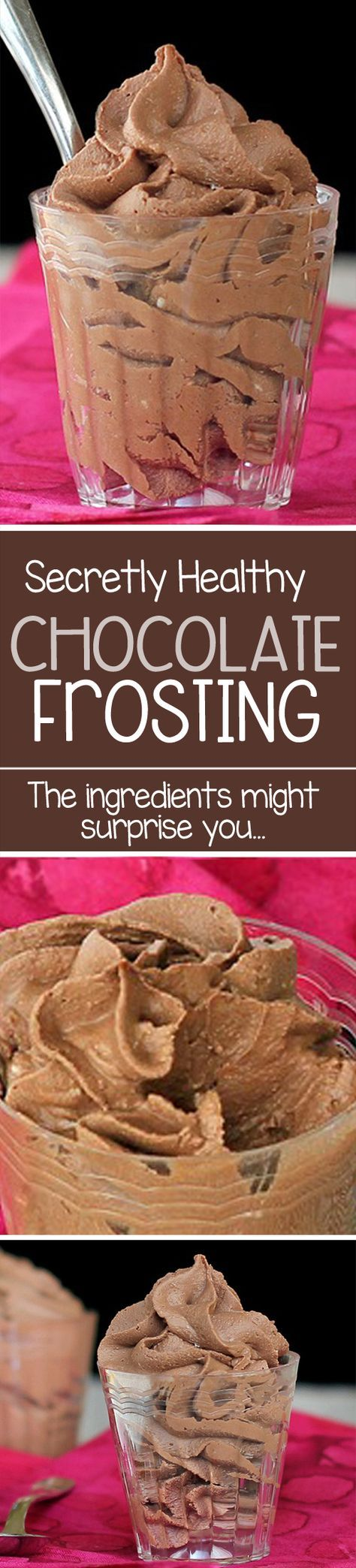 Healthy Chocolate Frosting, with just THREE ingredients, and NO shortening or butter! Healthy frosting shots.