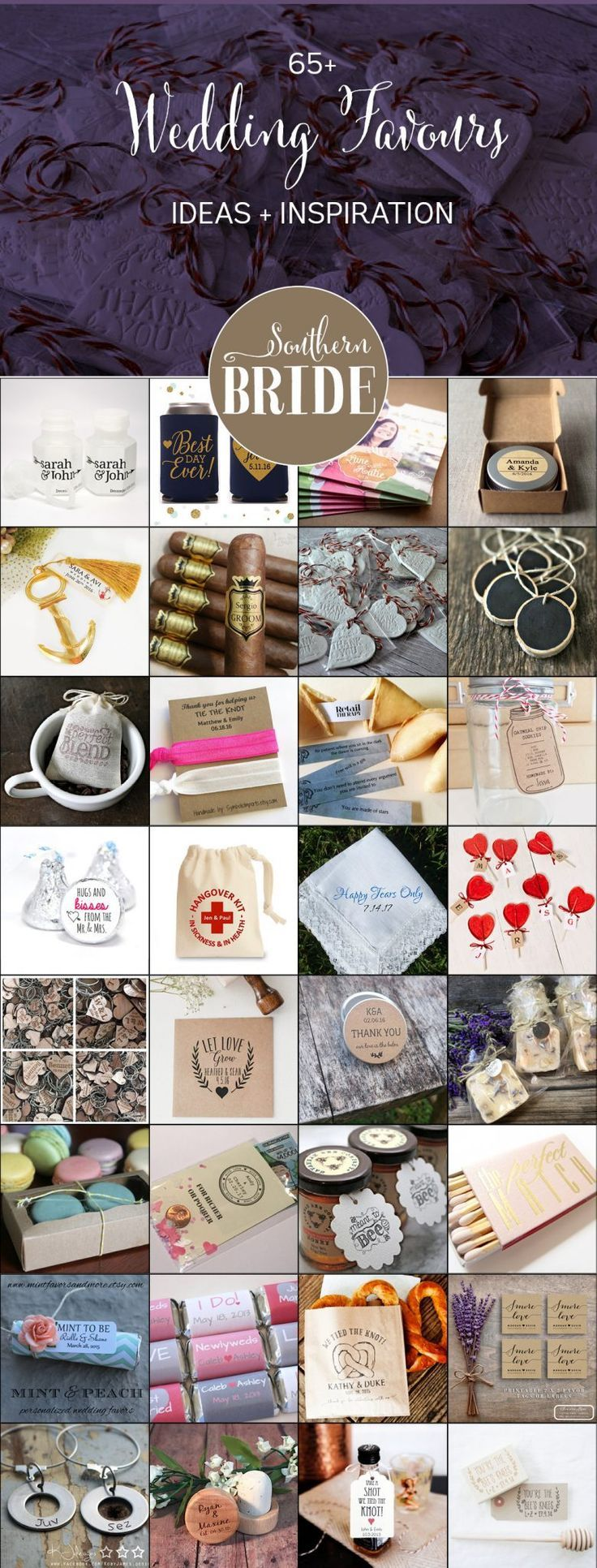 65 wedding favour ideas for your wedding reception - plenty of cheap or DIY options, food favours and personalised gifts for your wedding guests
