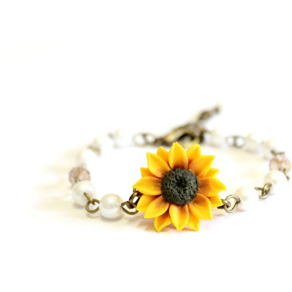 Yellow Sunflower and Pearls Bracelet, Sunflower Bracelet, Yellow... ($25) ❤ liked on Polyvore featuring jewelry, bracelets, pearl bangles, sunflower jewelry, yellow jewelry, pearl jewellery and pearl jewelry