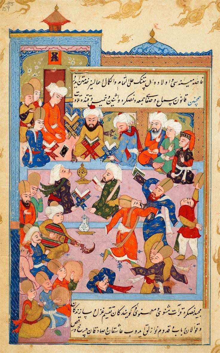 A Samāc During the Leadership of Rūmī's Successor, Ḥusām Al-Dīn Chelebi | Tarjuma-i Thawāqib-i manāqib (A Translation of Stars of the Legend), in Turkish | Iraq, Baghdad | 1590s | The Morgan Library & Museum