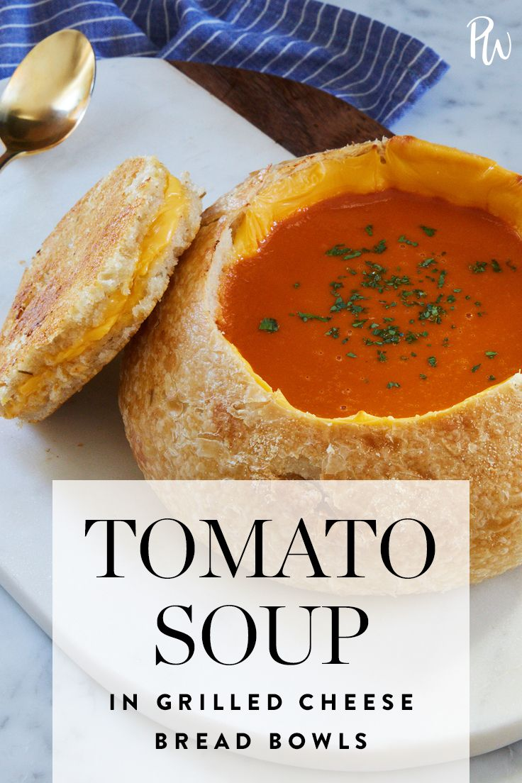 Tomato Soup in Grilled Cheese Bread Bowls