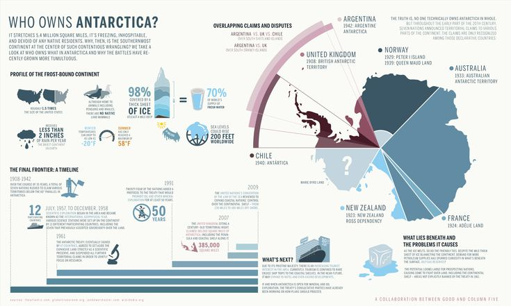 This infogrpahic provides information about the landscape of Antartica, it explains why there is so much demand for land there around the world and it