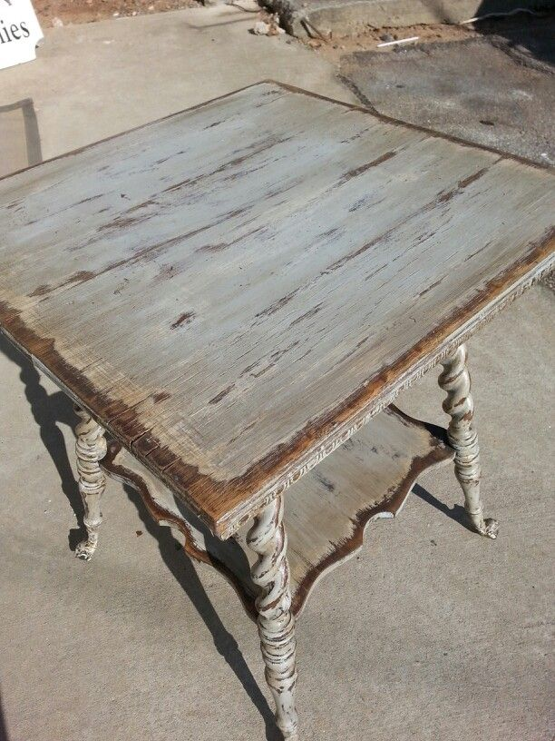 Early 1900's oak fern table with ball and claw feet painted with Ancient Gray,  Creamy Linen and Tea Stain Antiquing Gel Farmhouse Paint.   Farmhousepaint.com