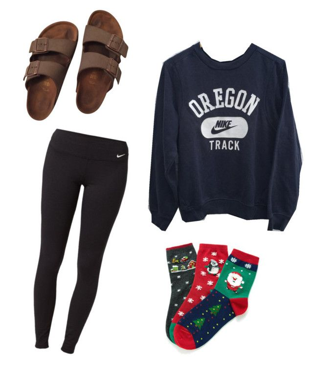 """Festive gal"" by papiramenhead ❤ liked on Polyvore featuring Birkenstock and NIKE"