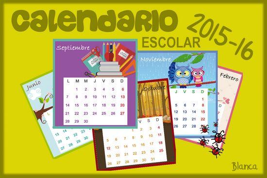 Actividades para Educación Infantil: Calendario escolar 15-16 para imprimir modelo 1