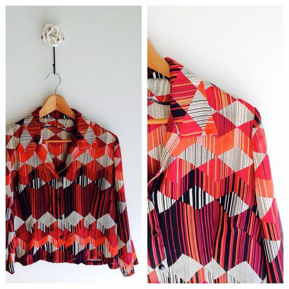 Graphic diamond geometric vintage blouse/shirt by MrsJoyful, $24.00