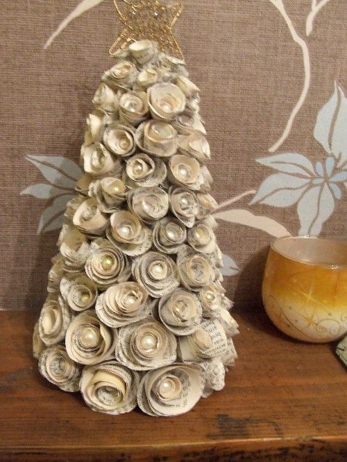 2015 book page diy paper christmas tree roses with golden pentagram - beads, paper roses crafts