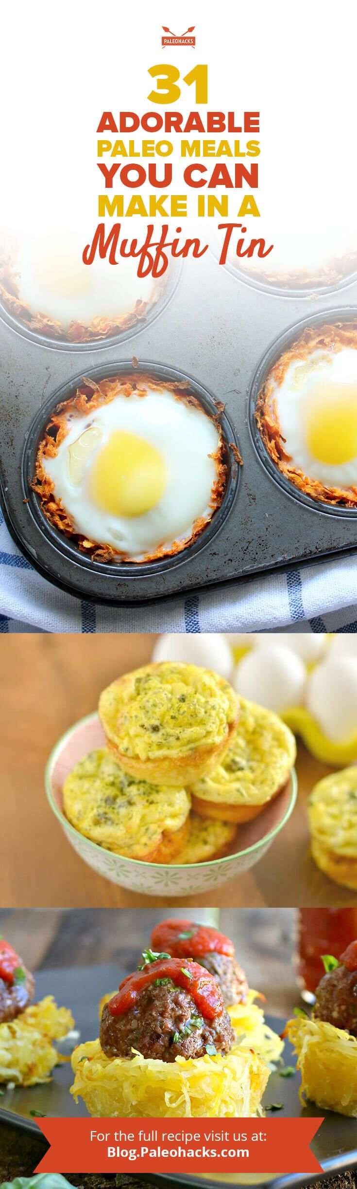 These 31 sweet and savory muffin tin meals are easy to whip up and can be eaten on the go! Get all recipes here: http://paleo.co/muffintinrcp