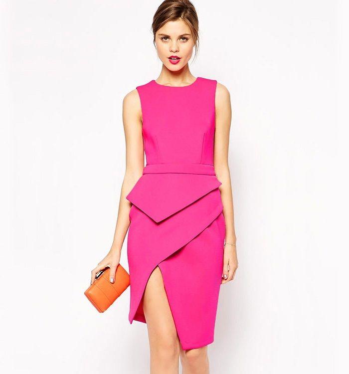 Rosy Sleeveless Asymmetric Peplum Dresses UK Online