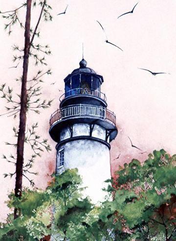 Amelia Island Lighthouse by Gene Rizzo Giclee Prints ~ 11x15 12x16 15x22 16x24 22x30 24x32 32x44 36x48 x x