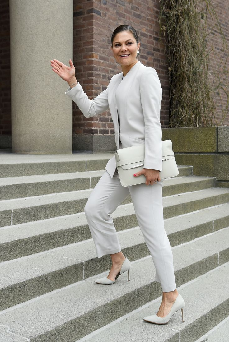 """Crown Princess Victoria of Sweden attends the meeting of Sustainable Development Goals (SDGs) - Keystone Dialogue 2 at the Royal Swedish Academy of Science (Kungliga Vetenskapsakademien - KVA) on 15 May 2017 in Stockholm. The Crown Princess is the representative of """"UN Sustainable Development Goals (SDGs)""""."""