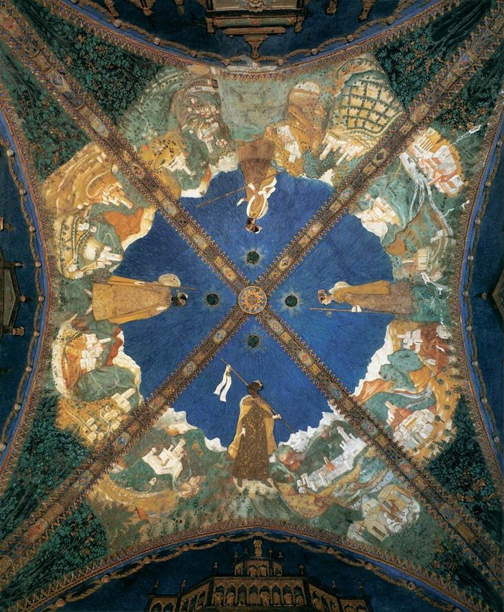 The frescoed ceiling of the Golden Chamber of the castle of Torrechiara (Parma, IT), painted by Benedetto Bembo in 1452. Count Pier Maria II de 'Rossi, a Renaissance warlord,  wanted to dedicate the decoration of his bedroom to the woman he loved, Bianca Pellegrini, depicting her as a pilgrim in search of her lover. She was married, and the couple had to wait a long time before being able to live together stably.