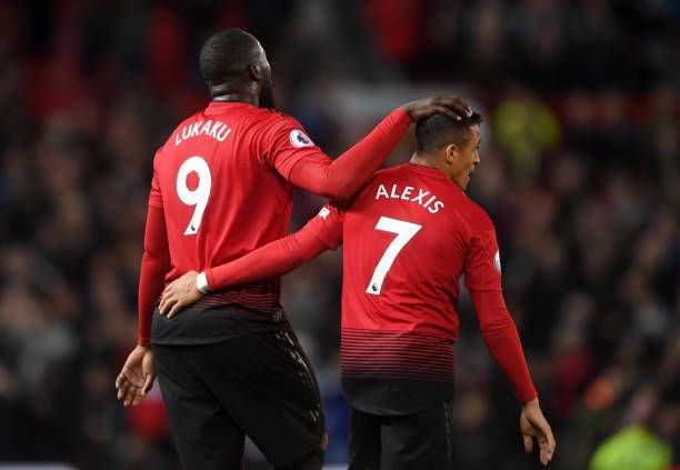 Romelu Lukaku And Alexis Sanchez Of Manchester United Celebrate Romelu Lukaku Manchester United Alexis Sanchez