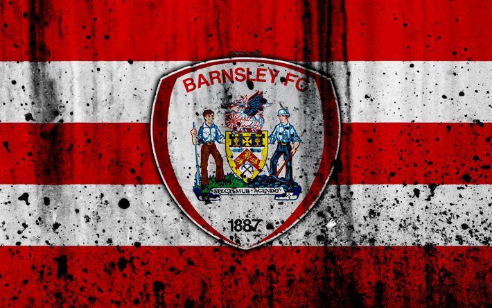 Download wallpapers 4k, FC Barnsley, grunge, EFL Championship, art, soccer, football club, England, Barnsley, logo, stone texture, Barnsley FC