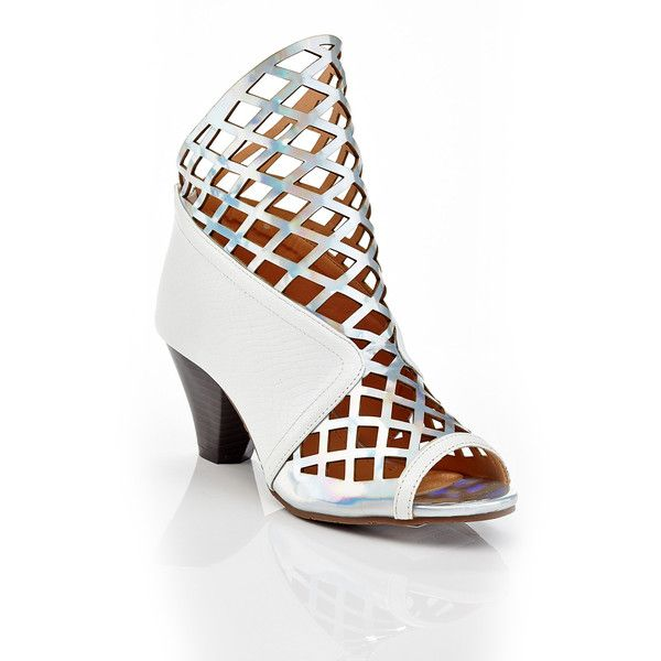 Women's NY VIP Sandra Women's Caged Snake Heeled Sandals ($40) ❤ liked on Polyvore featuring shoes, sandals, pumps & heels, white, white caged sandals, white formal shoes, caged heel sandals, white heeled sandals and white caged shoes