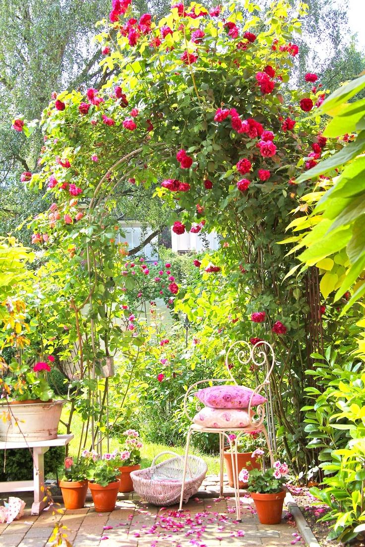 Traumhaft schönes Plätzchen unter der Rosenhecke im Garten