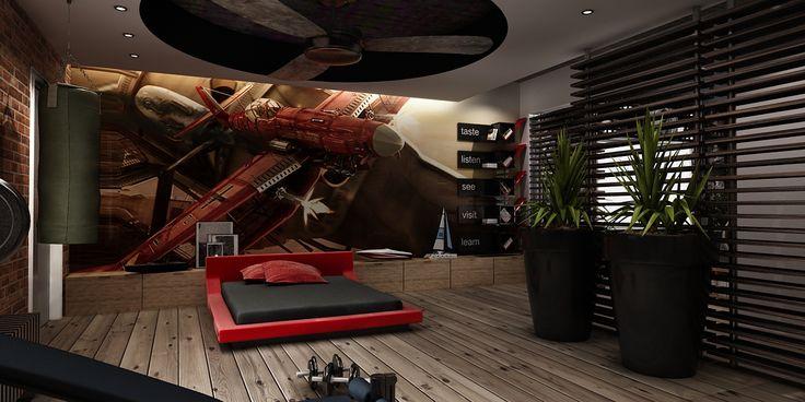 Bachelor Bedroom Design Idea Red Bed Pokoje Dla Dzieci Pinterest Bachelor Bedroom Red Beds And Bedrooms