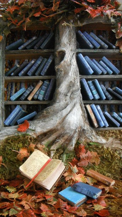 Magical Woodland Bookshelf - Miniature Fall Blossoms Bookshelf © L. DELANEY (Artist, Kalamazoo, Michigan, USA) on Etsy