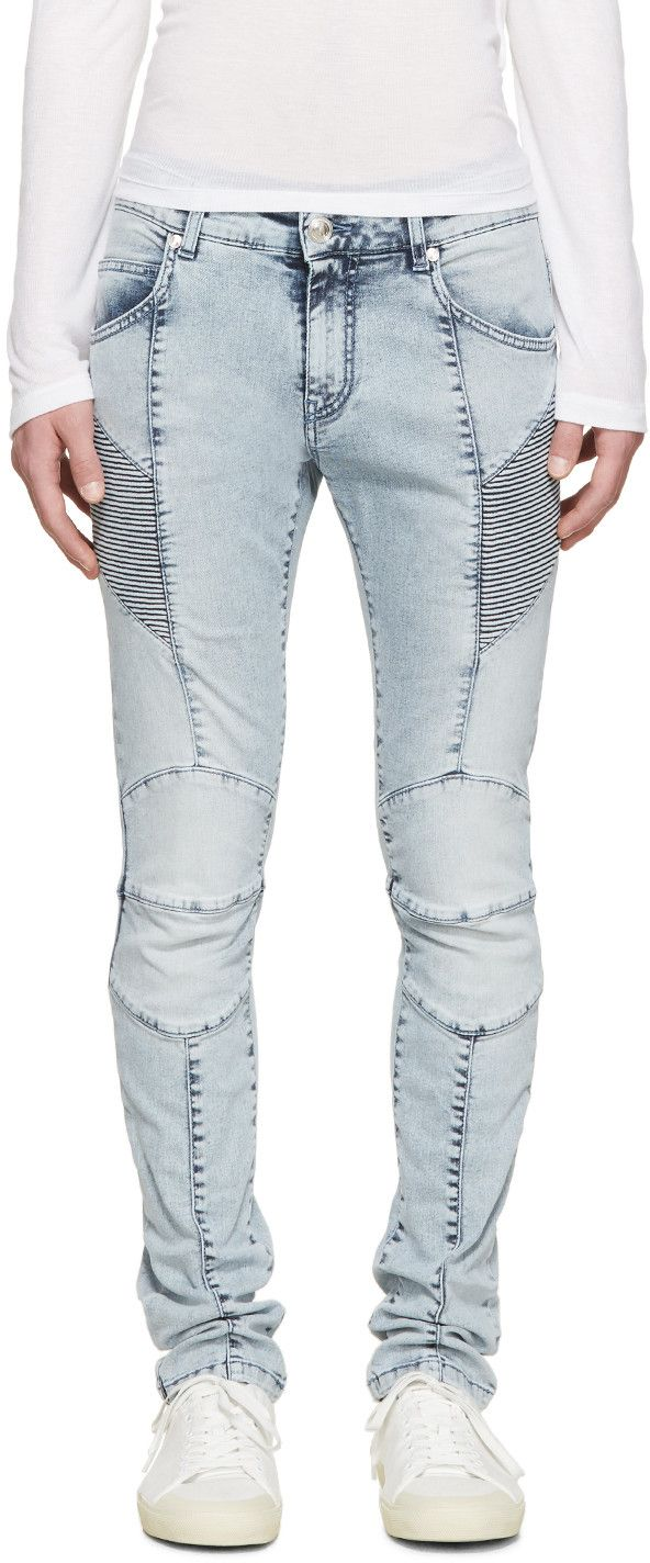 Pierre Balmain Blue Washed Biker Jeans