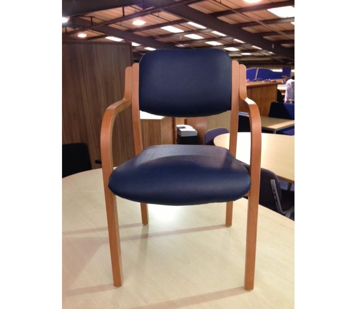 Wooden Frame Armchairs Blue Vinyl From Glasgow Discount