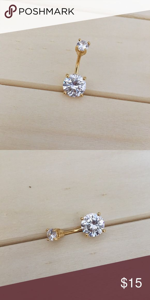 Gold CZ Prong Belly Button Ring Brand New! 14 Gauge Surgical Steel. Beautiful large 10MM Bottom Gem. Ships within 1-3 days Check out my all my items!  Thanks for looking ☺️ If you have any questions leave a comment below   Belly Button Ring Navel Piercing 14G Surgical Steel Body Jewelry New Jewelry