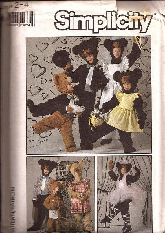 Child Clothes for Bear Costume / Simplicity 8272 / Size 2-4 / Pinafore, Cummerbund, Apron, Dickey, Jacket, Diaper