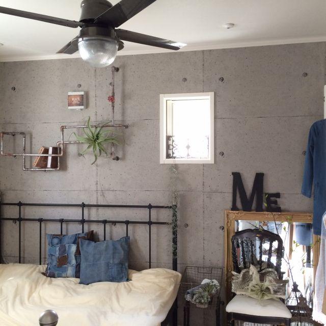 rkmamaさんの、インダストリアルに憧れて,ブログUPしました,パッチワークデニム,デニムクッションカバー,Bedroom,のお部屋写真
