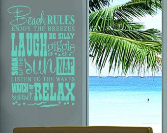 "Beach Rules.....Beach Wall Quotes Words Removable Beach Decals Lettering 15"" X 22"""