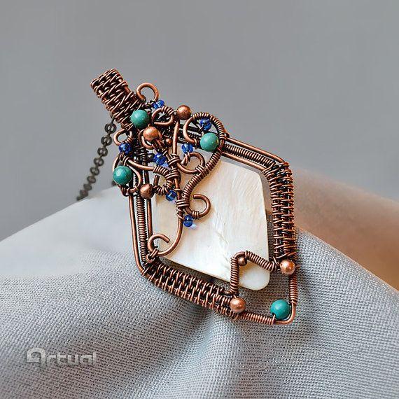 Colgante de concha, colgante de cobre, alambre envuelto colgante, joyería envuelta alambre, collar de turquesa, regalo para mujer, regalo de novia, joyería de alambre