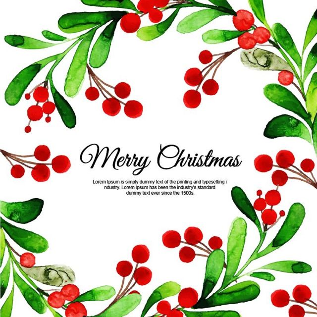 Watercolor Christmas Floral Background Watercolor Christmas