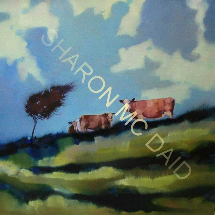 Grazing in a gale by Sharon McDaid - PRINT