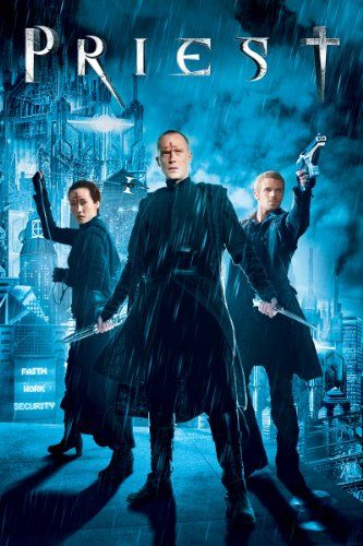 Priest - a post-apocalyptic sci-fi thriller set in an alternate world - one ravaged by centuries of war between man and vampires. The story revolves around a priest who disobeys church law to track down the vampires who kidnapped his niece. Maggie Q is of course amazing.