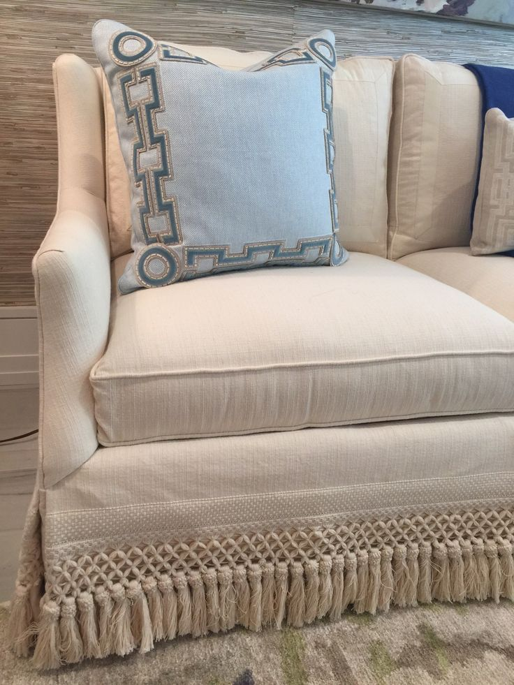Cr Laine Sofa With Samuel And Sons Skirt Fringe Pillows