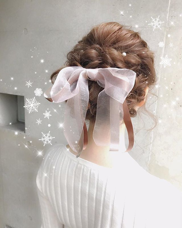 ふわふわlovely . . #ヘアアレンジ#ヘアセット#結婚式#結婚式ヘアセット#結婚式ヘア#hair#hairarrange #wille#ふわふわ#リボン##Perl#パール#アップヘア#かわいい#もたんちゅ#ありがと#
