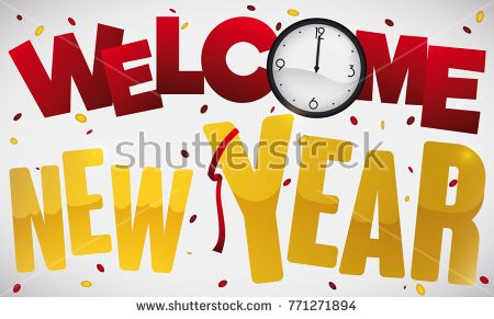 banner with confetti streamer clock and greeting message giving the welcome to new year