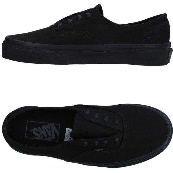 Vans Sneakers ($84) ❤ liked on Polyvore featuring shoes, sneakers, black, pull on sneakers, studded slip on sneakers, round cap, round toe flat shoes and studded sneakers