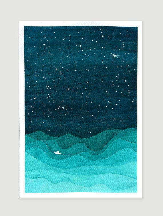 Print nautical wall decor sailboat teal nursery art by VApinx