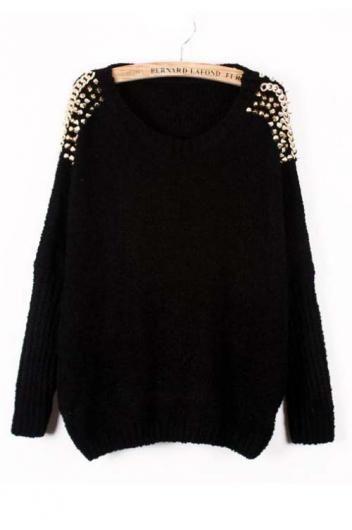 Bat sleeve raglan sweater chain rivets_Sweaters_CLOTHING_Voguec Shop